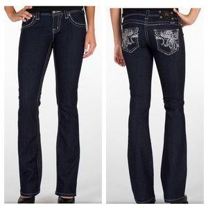 Miss Me Bling Bootcut Jeans Dark Wash Embellished